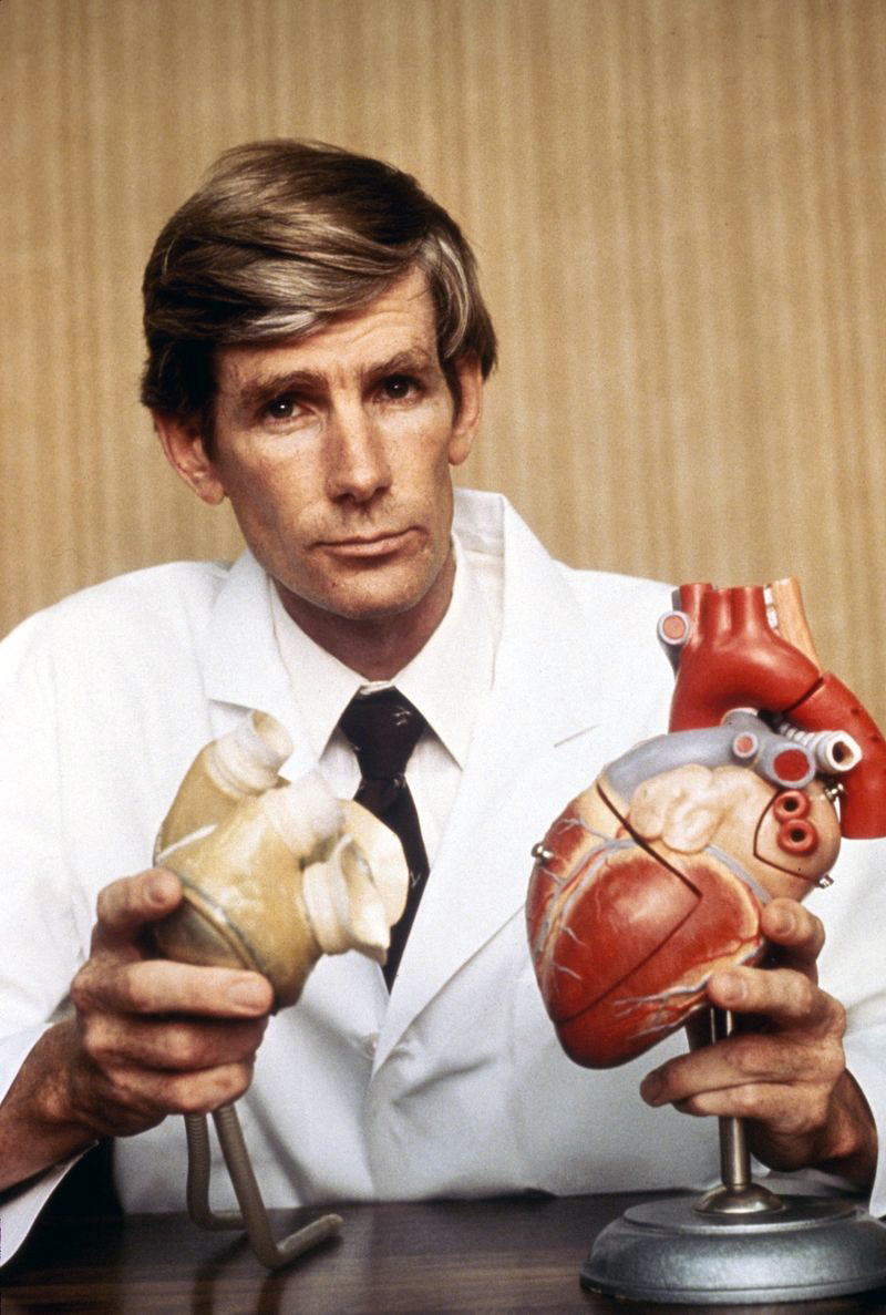 1982: Dr. William DeVries, Surgeon who performed the first permanent artificial heart transplant on a human patient circa 1982. DeVries was a first year medical student and one of the first research assistants hired by Kolff when he began his artificial heart program in Utah in 1967(Photo by Images Press/IMAGES/Getty Images)