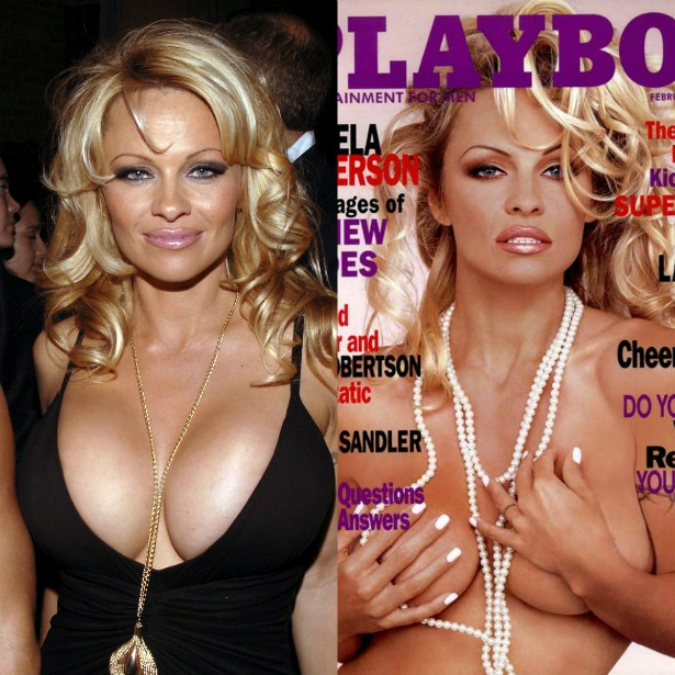 Pamela Anderson pôs silicone nos seios para posar para a 'Playboy' dos EUA em 1989.  (Foto: Getty Images e Reprodução)