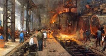 """Quadro """"Electro steelmelter"""", de Herman Heyenbrock, pintor conhecido por retratar a vida nas fábricas - (Foto: Reprodução)"""