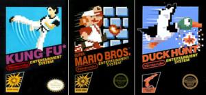 Caixinha dos primeiros jogos do NES nos Estados Unidos. A Nintendo mantinha um padrão, mas as produtoras terceirizadas tinham liberdade de criar sua embalagem