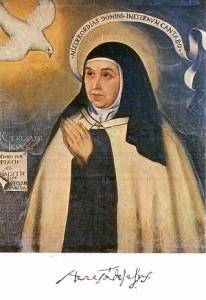Provavelmente o retrato mais fiel de Santa Teresa. Trata-se de uma cópia de uma pintura original dela feita em 1576, quando tinha 61 anos.