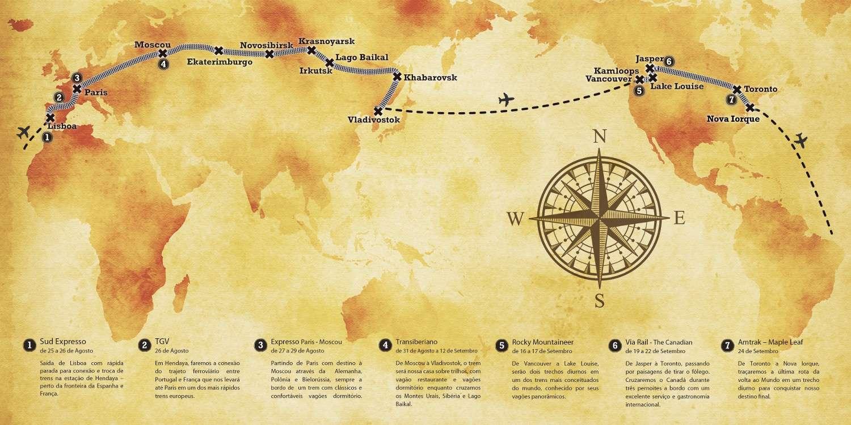 Mapa da 'Volta ao mundo de trem' (imagem: Divulgação)