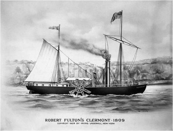 Em 1807, Robert Fulton, dos EUA, conseguira uma façanha. Seu barco de rodas Clermont foi equipado com um motor a vapor inventado por James Watt.