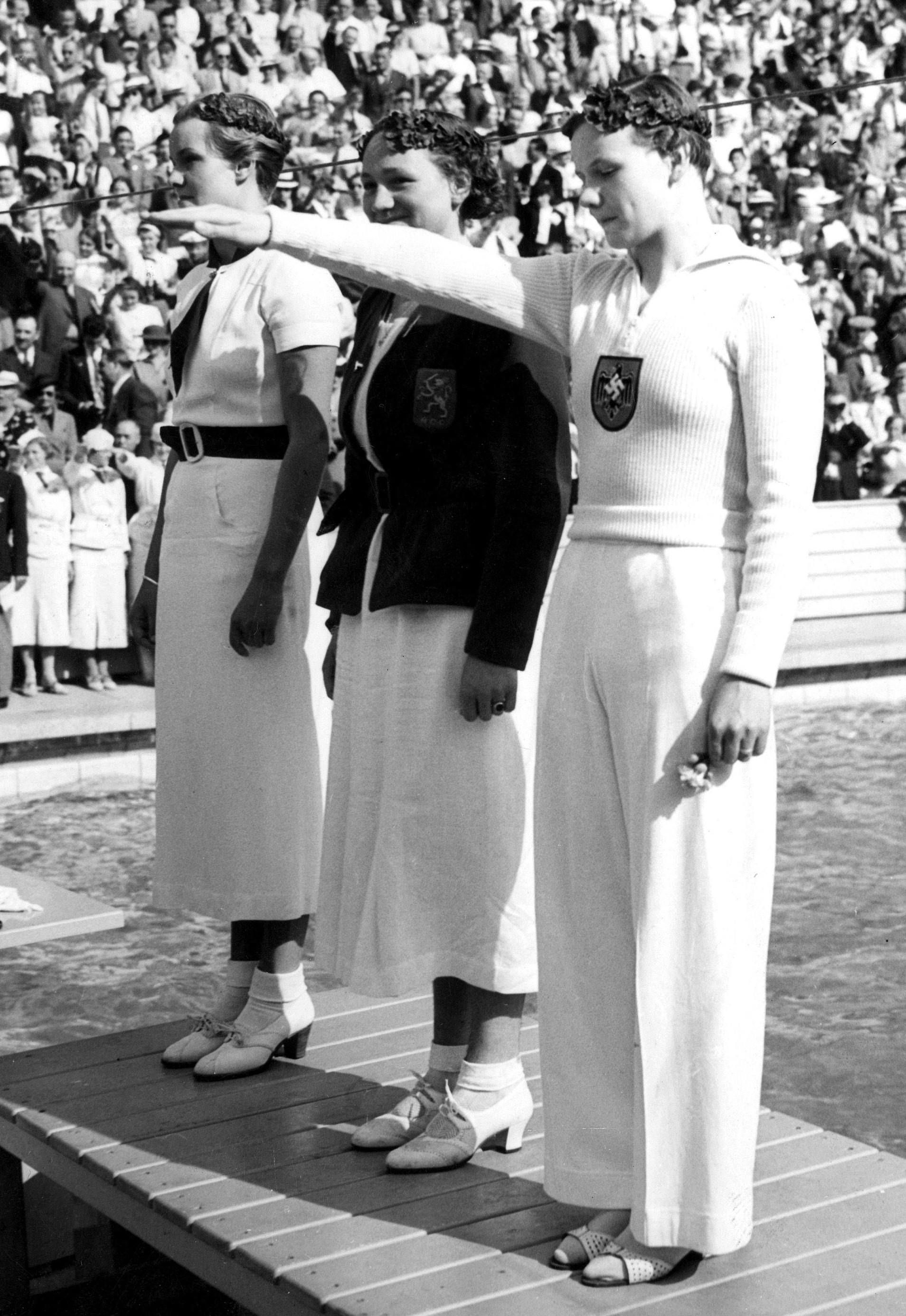 Jeannette Campbell, Rie Mastenbroek, Gisela Arendt em 1936 - (Foto: commons.wikimedia.org/Reprodução)