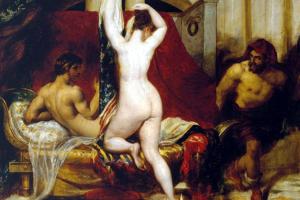 A esposa de Candaules se despe enquanto Giges observa. Pintura de William Etty (1830). (Dominio Público)